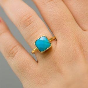 {CECELIA} boho turquoise stone square ring
